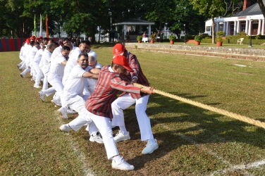 Tug of war competition between commandant 15 and deputy commandant and Chief instructor 15 (Picture Courtesy: Indian Military Academy, Dehradun)