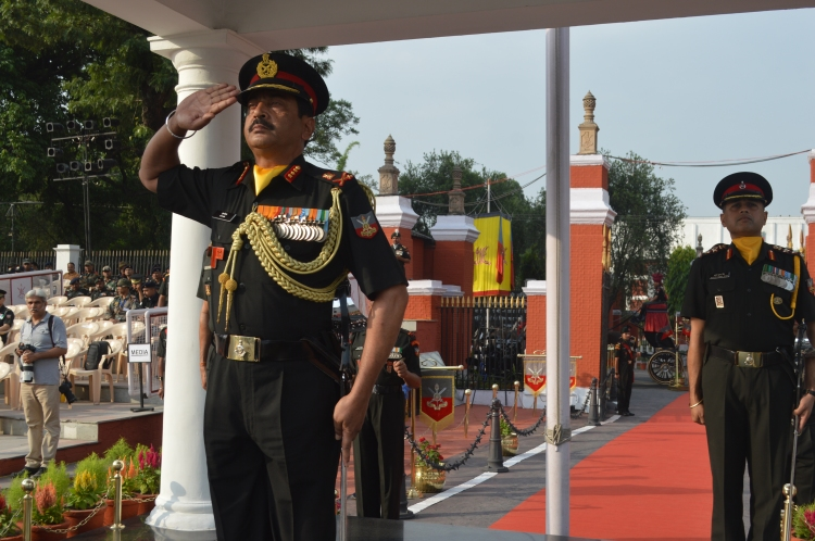Lt Gen SK Jha, PVSM, AVSM, YSM, SM, Commandant, Indian Military Academy, Reviewing the Parade.JPG