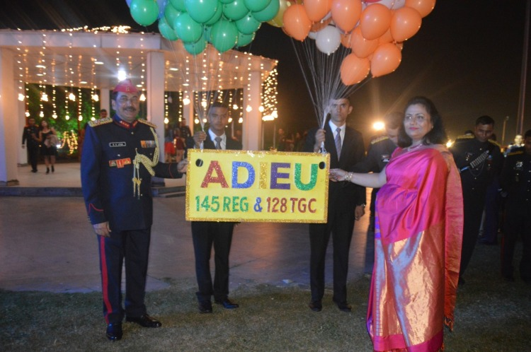 Lt Gen SK Jha, PVSM, AVSM, YSM, SM, Commandant, Indian Military Academy and Mrs Anita Jha, the first lady of the Academy, with farewell to 145 Reg & 128 TGC course on the occasion of IMA Ball