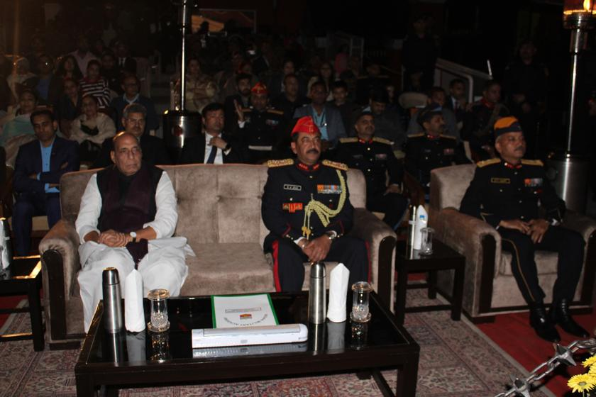 Shri Rajnath Singh Hon'ble Defence Minister of India along with Lt Gen SK Jha, PVSM, AVSM, YSM, SM, Comdt, IMA and Maj Gen GS Rawat, AVSM, YSM, SM DC&CI, IMA attending Sound and Light Show.jpg
