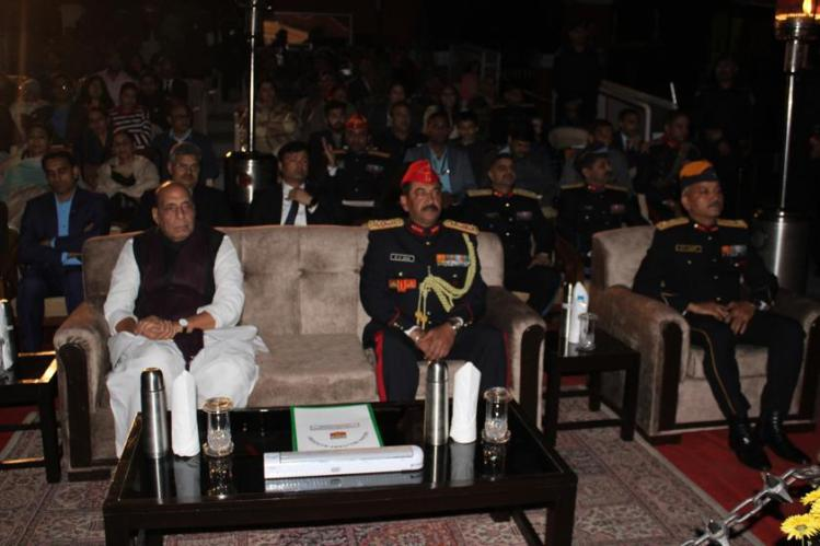 Shri Rajnath Singh Hon'ble Defence Minister of India along with Lt Gen SK Jha, PVSM, AVSM, YSM, SM, Comdt, IMA and Maj Gen GS Rawat, AVSM, YSM, SM DC&CI, IMA attending Sound and Light Show.jpg