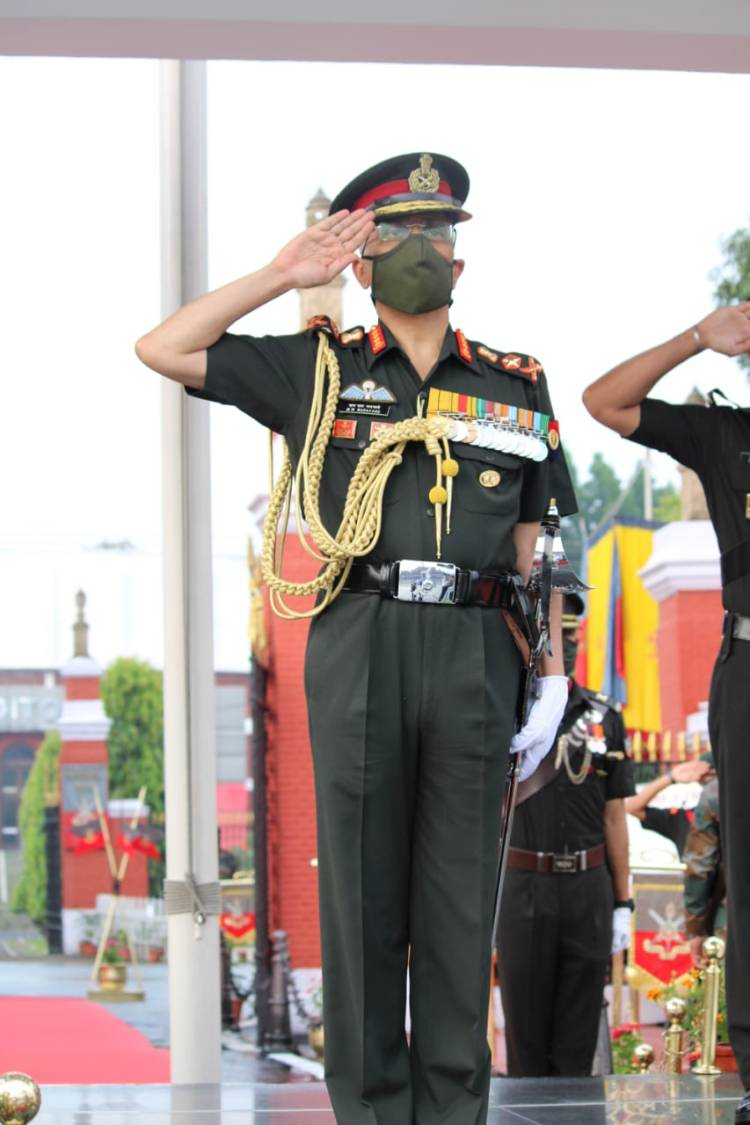 General MM Naravane, PVSM, AVSM, SM, VSM, ADC, Chief Of Army Staff, Reviewing Officer, saluting the IMA Colour...