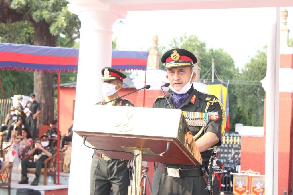 Lt Gen JS Negi, PVSM, AVSM, YSM, VSM__, Commandant, Indian Military Academy, addressing the Passing out Parade. (1)