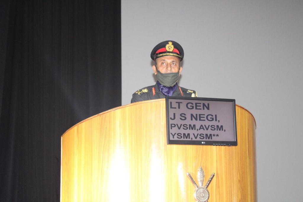 Lt Gen JS Negi, PVSM, AVSM, YSM, VSM__, Commandant, Indian Military Academy, addressing to Award winners to the Gentlemen Cadets of Passing Out Course