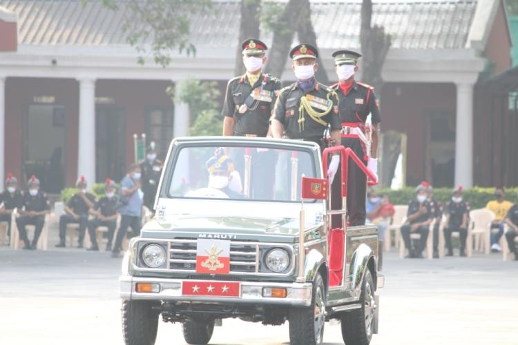 Lt Gen JS Negi, PVSM, AVSM, YSM, VSM__, Commandant, Indian Military Academy, review the parade.